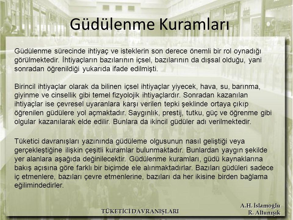 A.H. İslamoğlu R. Altunışık TÜKETİCİ DAVRANIŞLARI Güdülenme Kuramları Güdülenme sürecinde ihtiyaç ve isteklerin son derece önemli bir rol oynadığı gör