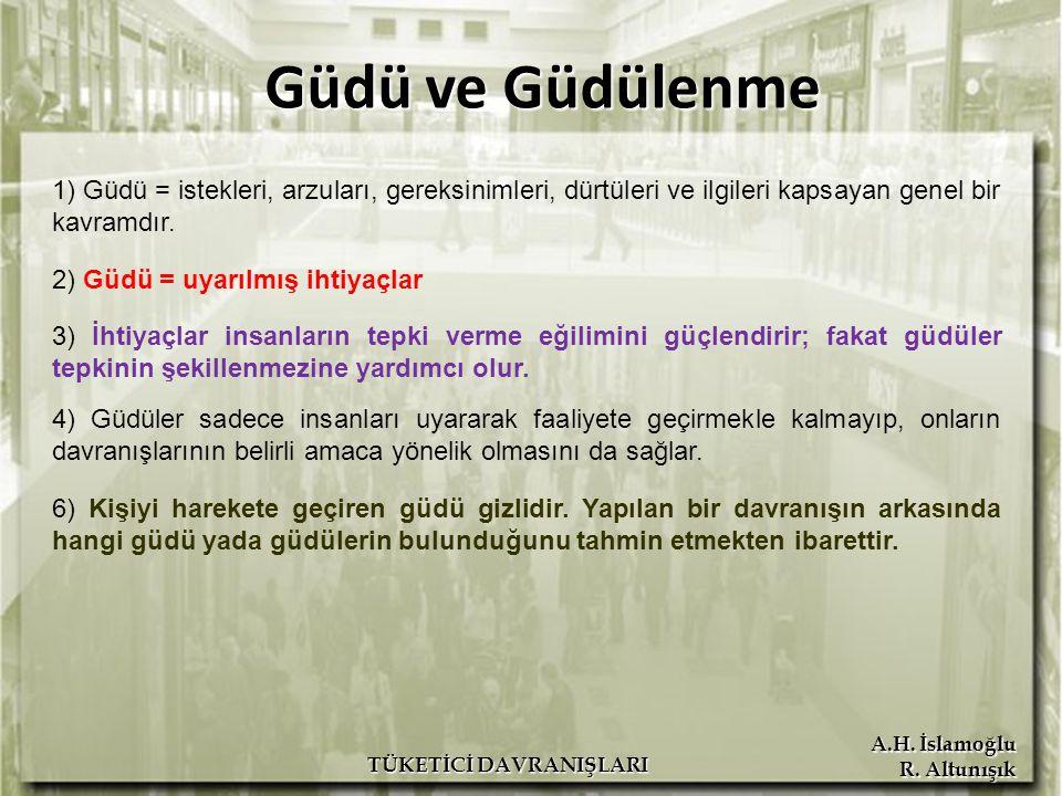 A.H. İslamoğlu R. Altunışık TÜKETİCİ DAVRANIŞLARI Güdü ve Güdülenme 1) Güdü = istekleri, arzuları, gereksinimleri, dürtüleri ve ilgileri kapsayan gene