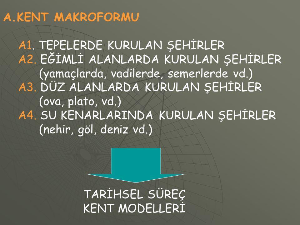 A.KENT MAKROFORMU A1. TEPELERDE KURULAN ŞEHİRLER A2.