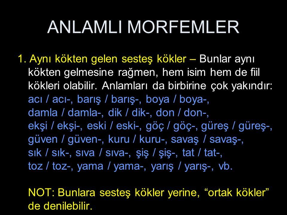 ANLAMLI MORFEMLER 1.