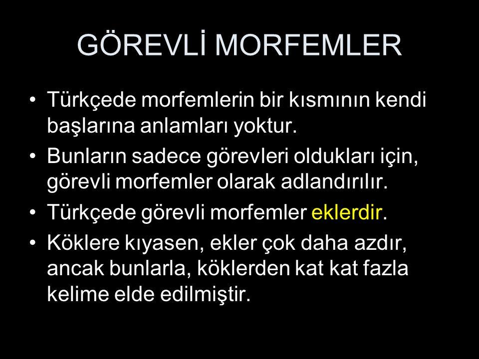 GÖREVLİ MORFEMLER Türkçede morfemlerin bir kısmının kendi başlarına anlamları yoktur.