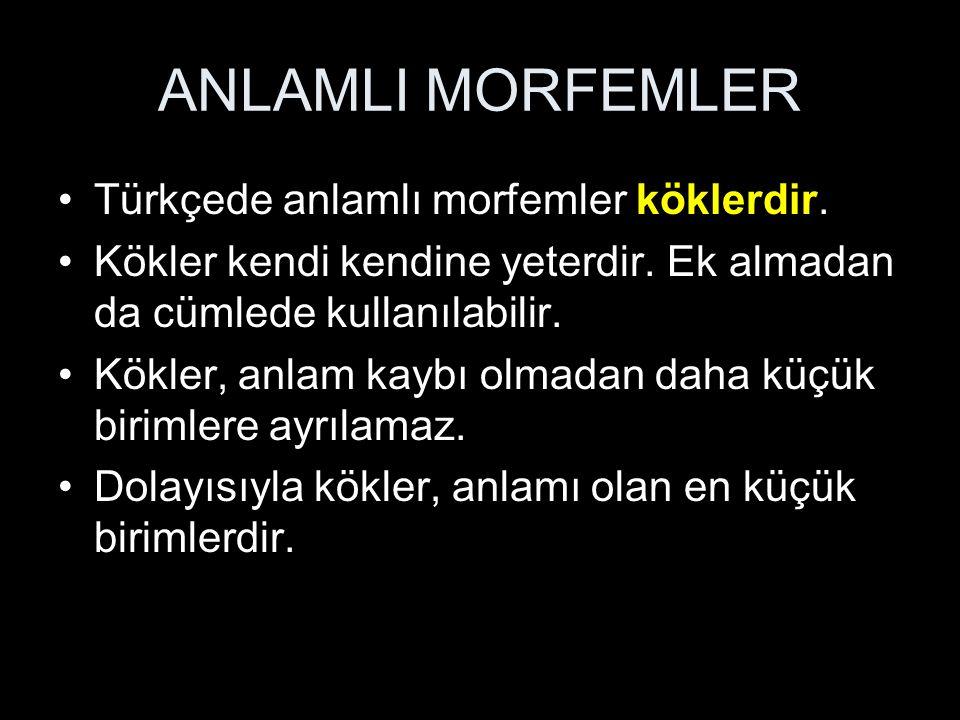 ANLAMLI MORFEMLER Türkçede anlamlı morfemler köklerdir.