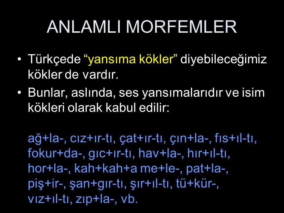 ANLAMLI MORFEMLER Türkçede yansıma kökler diyebileceğimiz kökler de vardır.