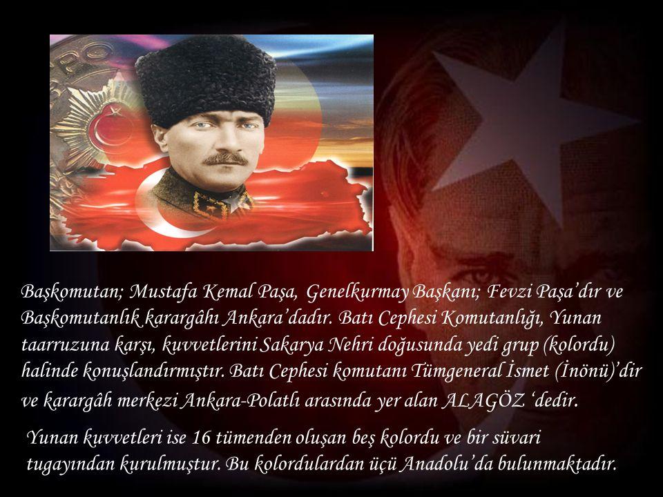 Başkomutan; Mustafa Kemal Paşa, Genelkurmay Başkanı; Fevzi Paşa'dır ve Başkomutanlık karargâhı Ankara'dadır.