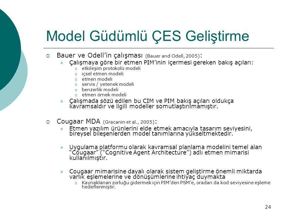 24 Model Güdümlü ÇES Geliştirme  Bauer ve Odell'in çalışması (Bauer and Odell, 2005) : Çalışmaya göre bir etmen PIM'inin içermesi gereken bakış açıları:  etkileşim protokolü modeli  içsel etmen modeli  etmen modeli  servis / yetenek modeli  benzerlik modeli  etmen örnek modeli Çalışmada sözü edilen bu CIM ve PIM bakış açıları oldukça kavramsaldır ve ilgili modeller somutlaştırılmamıştır.