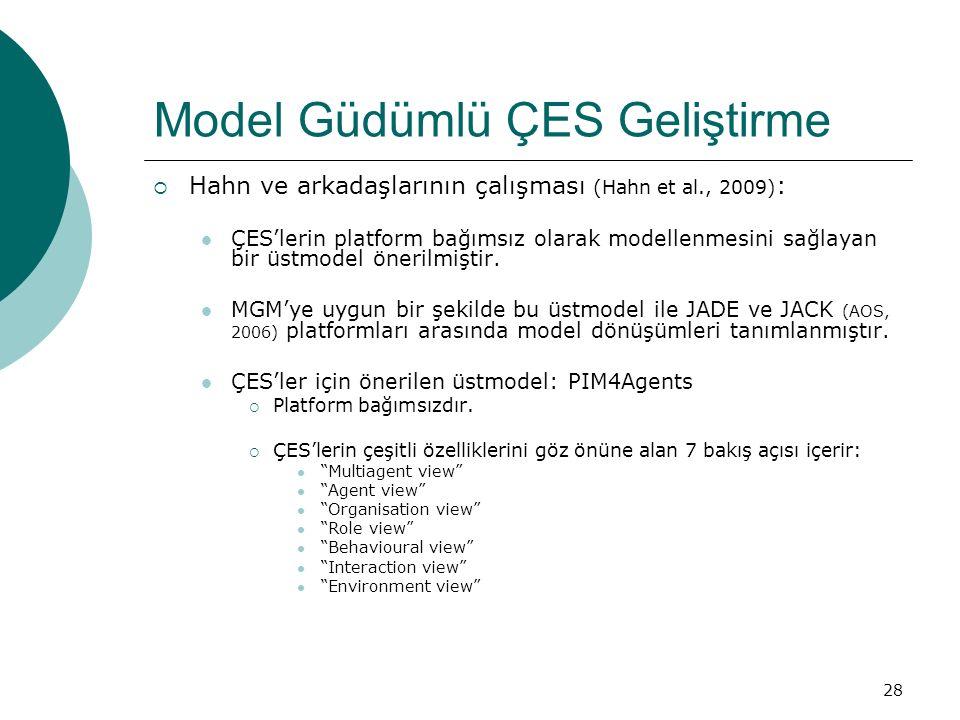 28 Model Güdümlü ÇES Geliştirme  Hahn ve arkadaşlarının çalışması (Hahn et al., 2009) : ÇES'lerin platform bağımsız olarak modellenmesini sağlayan bir üstmodel önerilmiştir.