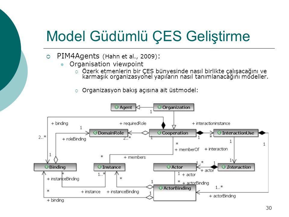 30 Model Güdümlü ÇES Geliştirme  PIM4Agents (Hahn et al., 2009) : Organisation viewpoint  Özerk etmenlerin bir ÇES bünyesinde nasıl birlikte çalışacağını ve karmaşık organizasyonel yapıların nasıl tanımlanacağını modeller.