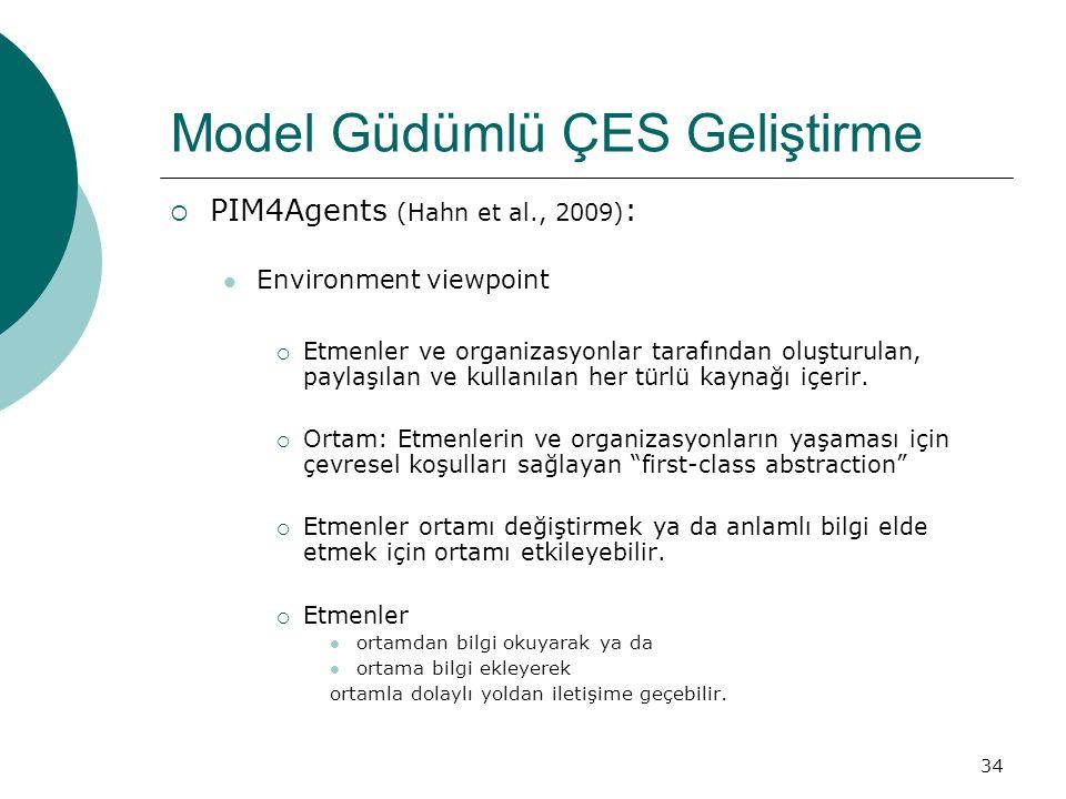 34 Model Güdümlü ÇES Geliştirme  PIM4Agents (Hahn et al., 2009) : Environment viewpoint  Etmenler ve organizasyonlar tarafından oluşturulan, paylaşılan ve kullanılan her türlü kaynağı içerir.