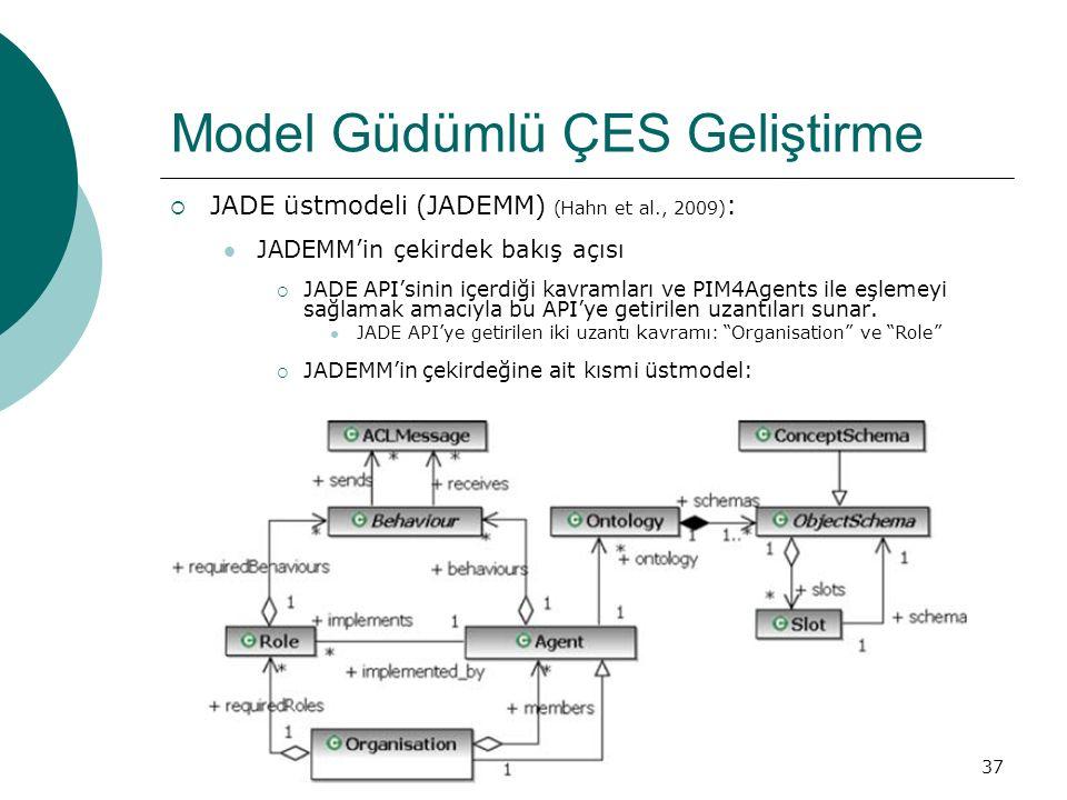 37 Model Güdümlü ÇES Geliştirme  JADE üstmodeli (JADEMM) (Hahn et al., 2009) : JADEMM'in çekirdek bakış açısı  JADE API'sinin içerdiği kavramları ve PIM4Agents ile eşlemeyi sağlamak amacıyla bu API'ye getirilen uzantıları sunar.