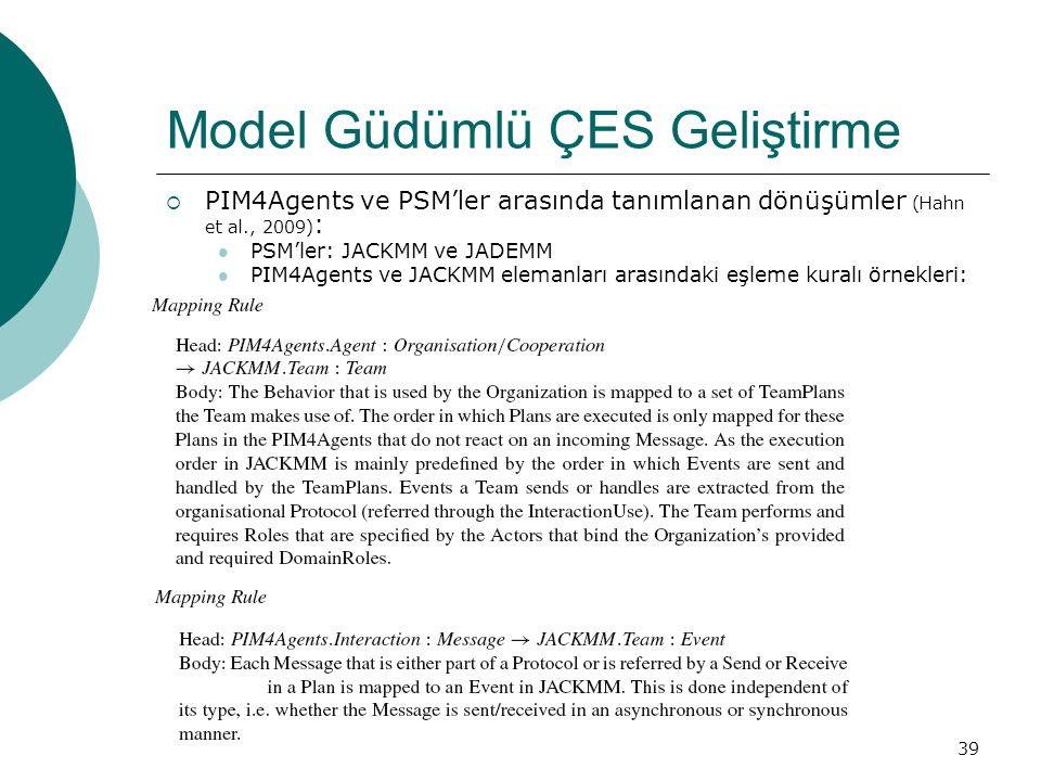 39 Model Güdümlü ÇES Geliştirme  PIM4Agents ve PSM'ler arasında tanımlanan dönüşümler (Hahn et al., 2009) : PSM'ler: JACKMM ve JADEMM PIM4Agents ve JACKMM elemanları arasındaki eşleme kuralı örnekleri: