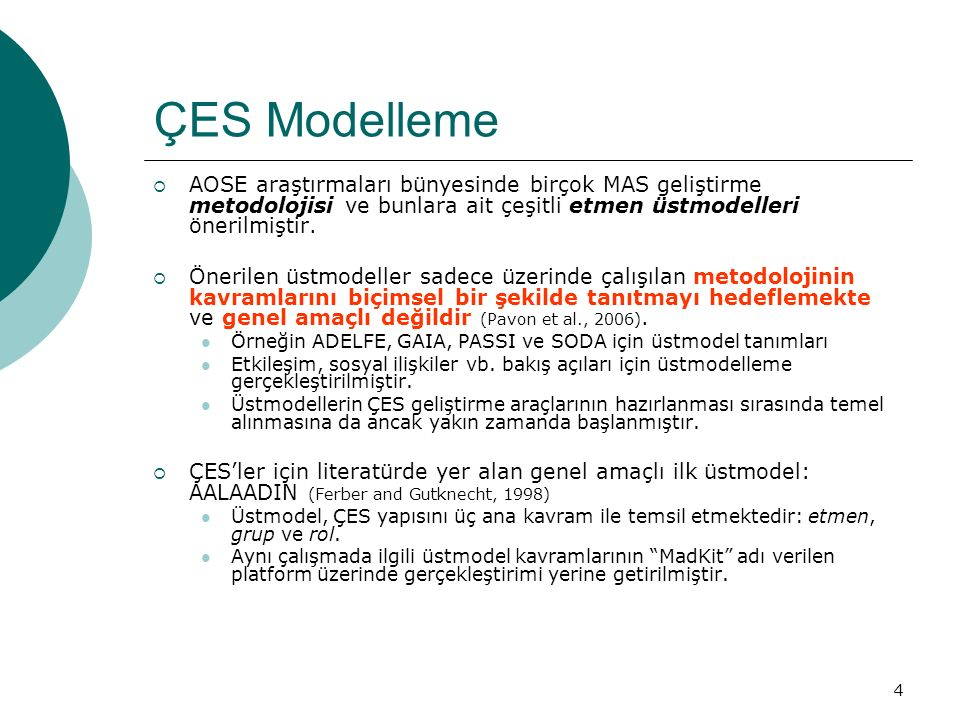 15 ÇES Modelleme  FIPA Agent Class Superstructure Metamodel (ACSM) (FIPA Modeling TC, 2004) :