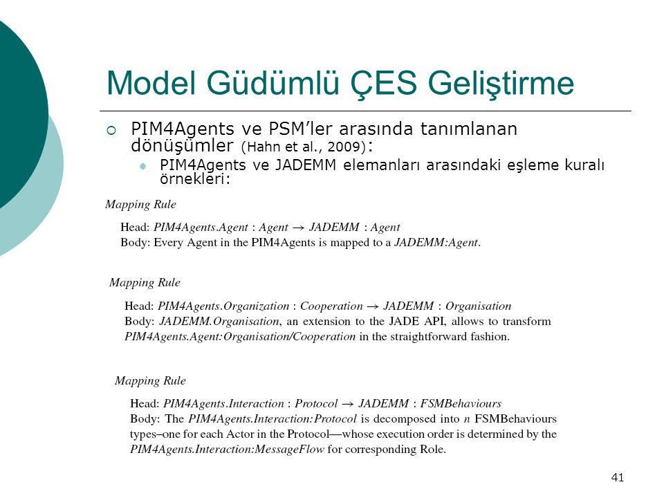 41 Model Güdümlü ÇES Geliştirme  PIM4Agents ve PSM'ler arasında tanımlanan dönüşümler (Hahn et al., 2009) : PIM4Agents ve JADEMM elemanları arasındaki eşleme kuralı örnekleri:
