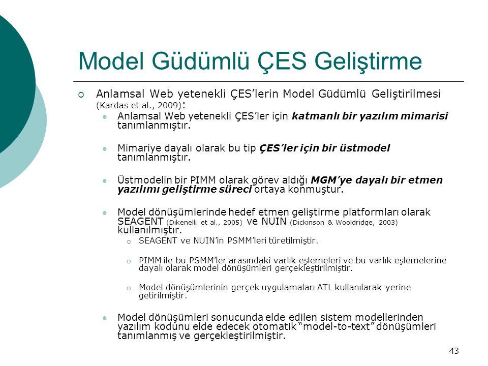 43 Model Güdümlü ÇES Geliştirme  Anlamsal Web yetenekli ÇES'lerin Model Güdümlü Geliştirilmesi (Kardas et al., 2009) : Anlamsal Web yetenekli ÇES'ler için katmanlı bir yazılım mimarisi tanımlanmıştır.