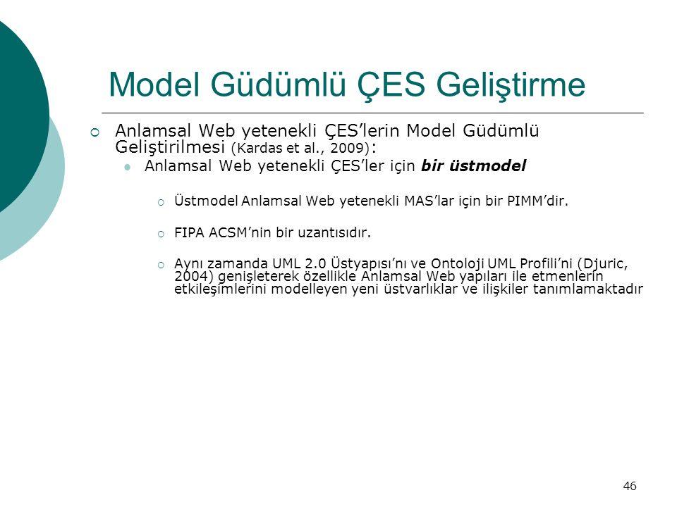 46 Model Güdümlü ÇES Geliştirme  Anlamsal Web yetenekli ÇES'lerin Model Güdümlü Geliştirilmesi (Kardas et al., 2009) : Anlamsal Web yetenekli ÇES'ler için bir üstmodel  Üstmodel Anlamsal Web yetenekli MAS'lar için bir PIMM'dir.