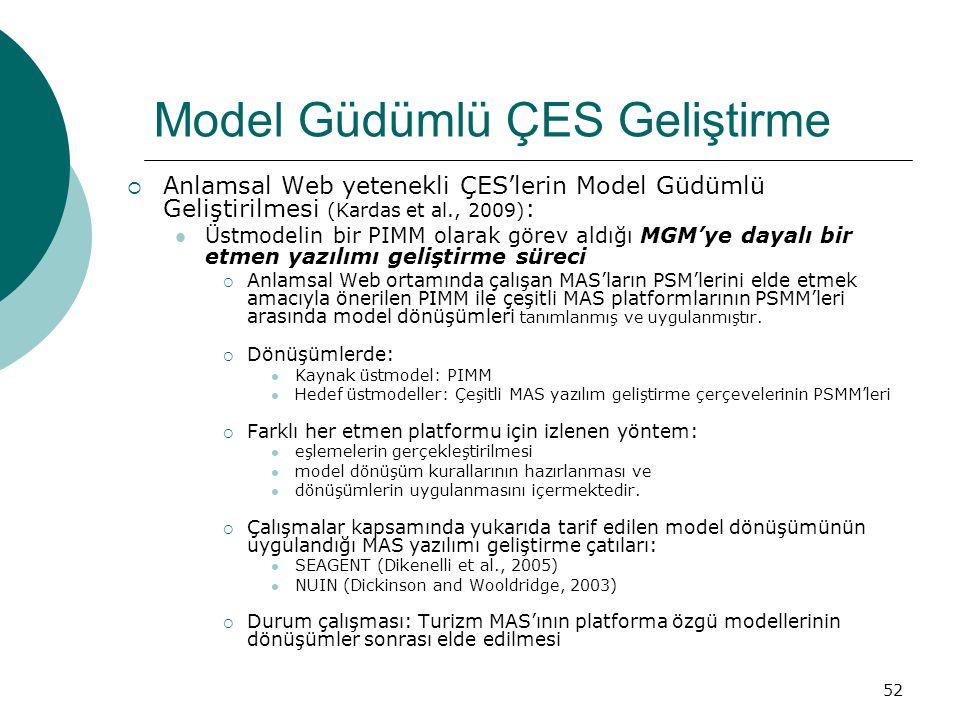 52 Model Güdümlü ÇES Geliştirme  Anlamsal Web yetenekli ÇES'lerin Model Güdümlü Geliştirilmesi (Kardas et al., 2009) : Üstmodelin bir PIMM olarak görev aldığı MGM'ye dayalı bir etmen yazılımı geliştirme süreci  Anlamsal Web ortamında çalışan MAS'ların PSM'lerini elde etmek amacıyla önerilen PIMM ile çeşitli MAS platformlarının PSMM'leri arasında model dönüşümleri tanımlanmış ve uygulanmıştır.