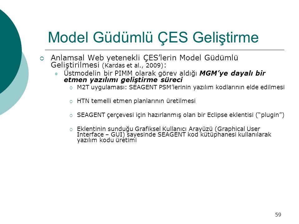 59 Model Güdümlü ÇES Geliştirme  Anlamsal Web yetenekli ÇES'lerin Model Güdümlü Geliştirilmesi (Kardas et al., 2009) : Üstmodelin bir PIMM olarak görev aldığı MGM'ye dayalı bir etmen yazılımı geliştirme süreci  M2T uygulaması: SEAGENT PSM'lerinin yazılım kodlarının elde edilmesi  HTN temelli etmen planlarının üretilmesi  SEAGENT çerçevesi için hazırlanmış olan bir Eclipse eklentisi ( plugin )  Eklentinin sunduğu Grafiksel Kullanıcı Arayüzü (Graphical User Interface – GUI) sayesinde SEAGENT kod kütüphanesi kullanılarak yazılım kodu üretimi