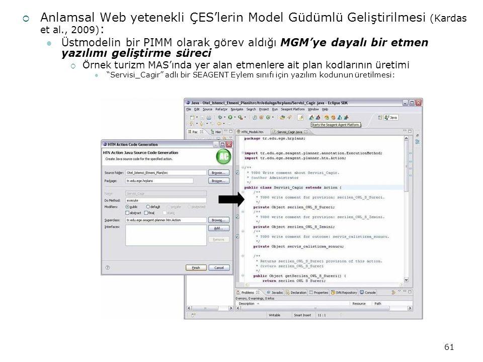 61  Anlamsal Web yetenekli ÇES'lerin Model Güdümlü Geliştirilmesi (Kardas et al., 2009) : Üstmodelin bir PIMM olarak görev aldığı MGM'ye dayalı bir etmen yazılımı geliştirme süreci  Örnek turizm MAS'ında yer alan etmenlere ait plan kodlarının üretimi Servisi_Cagir adlı bir SEAGENT Eylem sınıfı için yazılım kodunun üretilmesi:
