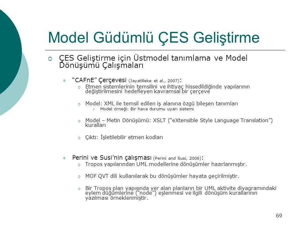 69 Model Güdümlü ÇES Geliştirme  ÇES Geliştirme için Üstmodel tanımlama ve Model Dönüşümü Çalışmaları CAFnE Çerçevesi (Jayatilleke et al., 2007) :  Etmen sistemlerinin temsilini ve ihtiyaç hissedildiğinde yapılarının değiştirilmesini hedefleyen kavramsal bir çerçeve  Model: XML ile temsil edilen iş alanına özgü bileşen tanımları Model örneği: Bir hava durumu uyarı sistemi  Model – Metin Dönüşümü: XSLT ( eXtensible Style Language Translation ) kuralları  Çıktı: İşletilebilir etmen kodları Perini ve Susi'nin çalışması (Perini and Susi, 2006) :  Tropos yapılarından UML modellerine dönüşümler hazırlanmıştır.
