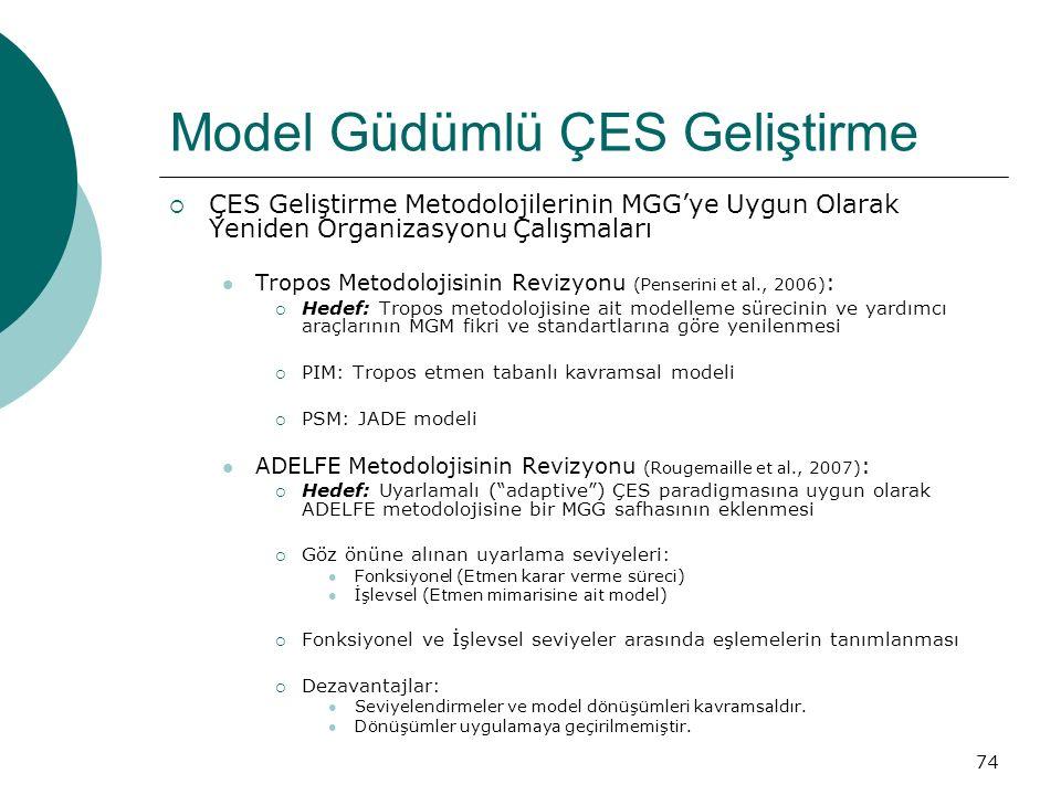 74 Model Güdümlü ÇES Geliştirme  ÇES Geliştirme Metodolojilerinin MGG'ye Uygun Olarak Yeniden Organizasyonu Çalışmaları Tropos Metodolojisinin Revizyonu (Penserini et al., 2006) :  Hedef: Tropos metodolojisine ait modelleme sürecinin ve yardımcı araçlarının MGM fikri ve standartlarına göre yenilenmesi  PIM: Tropos etmen tabanlı kavramsal modeli  PSM: JADE modeli ADELFE Metodolojisinin Revizyonu (Rougemaille et al., 2007) :  Hedef: Uyarlamalı ( adaptive ) ÇES paradigmasına uygun olarak ADELFE metodolojisine bir MGG safhasının eklenmesi  Göz önüne alınan uyarlama seviyeleri: Fonksiyonel (Etmen karar verme süreci) İşlevsel (Etmen mimarisine ait model)  Fonksiyonel ve İşlevsel seviyeler arasında eşlemelerin tanımlanması  Dezavantajlar: Seviyelendirmeler ve model dönüşümleri kavramsaldır.