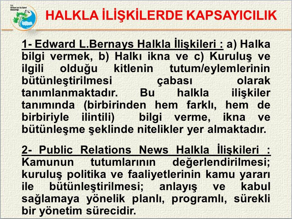 1- Edward L.Bernays Halkla İlişkileri : a) Halka bilgi vermek, b) Halkı ikna ve c) Kuruluş ve ilgili olduğu kitlenin tutum/eylemlerinin bütünleştirilm