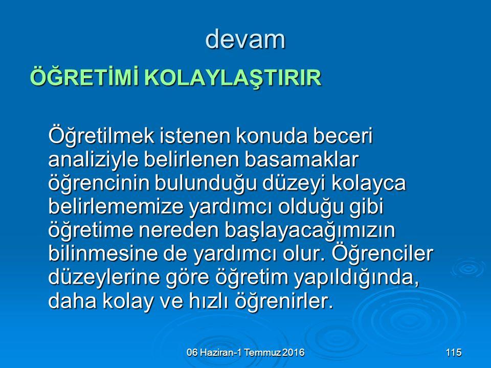 06 Haziran-1 Temmuz 2016115 devam ÖĞRETİMİ KOLAYLAŞTIRIR Öğretilmek istenen konuda beceri analiziyle belirlenen basamaklar öğrencinin bulunduğu düzeyi