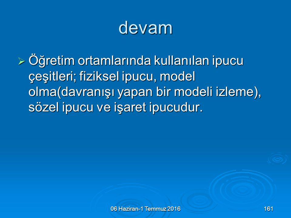 06 Haziran-1 Temmuz 2016161 devam  Öğretim ortamlarında kullanılan ipucu çeşitleri; fiziksel ipucu, model olma(davranışı yapan bir modeli izleme), sö
