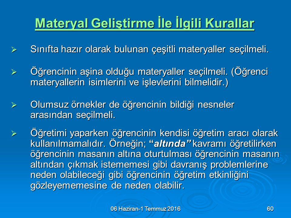 06 Haziran-1 Temmuz 201660 Materyal Geliştirme İle İlgili Kurallar  Sınıfta hazır olarak bulunan çeşitli materyaller seçilmeli.  Öğrencinin aşina ol