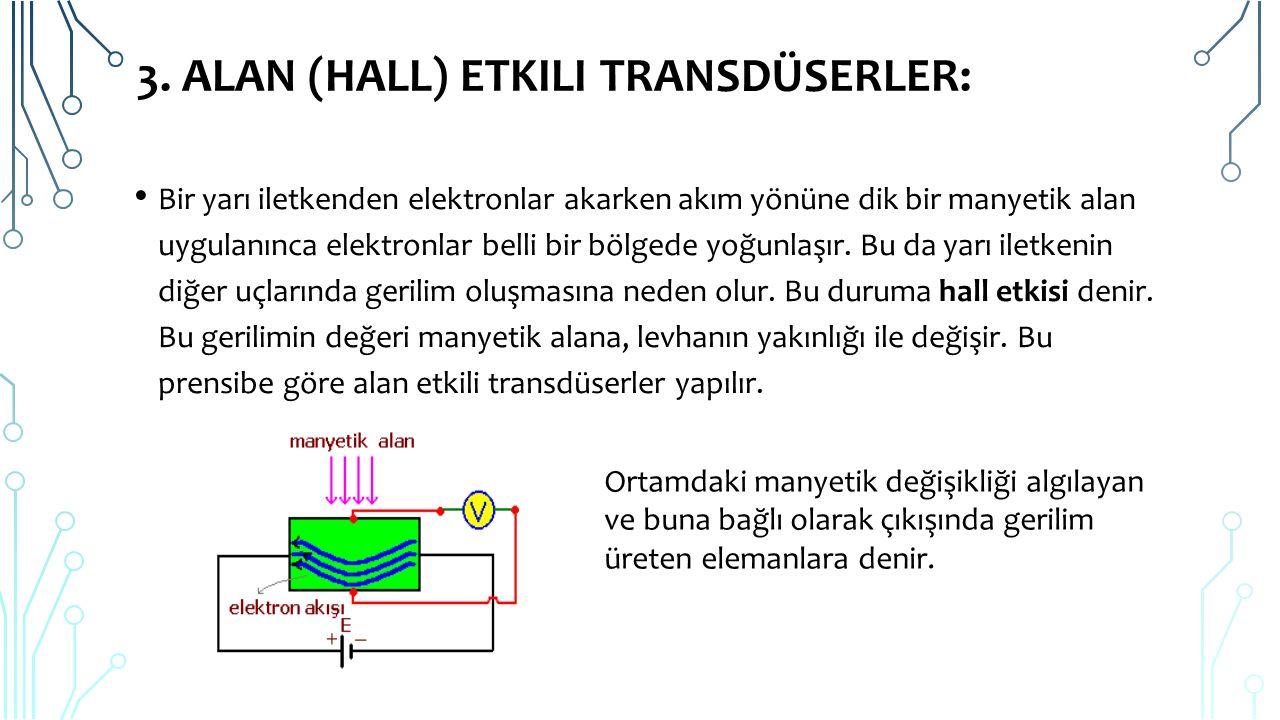 3. ALAN (HALL) ETKILI TRANSDÜSERLER: Bir yarı iletkenden elektronlar akarken akım yönüne dik bir manyetik alan uygulanınca elektronlar belli bir bölge