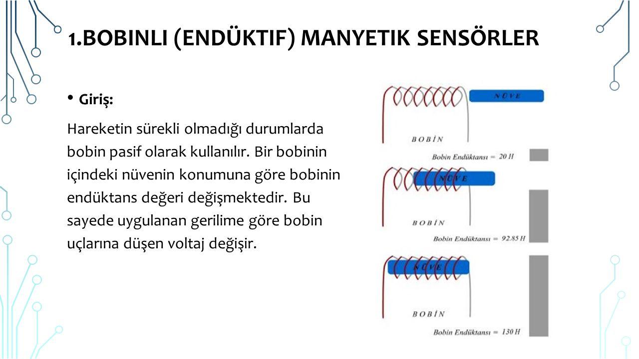 1.BOBINLI (ENDÜKTIF) MANYETIK SENSÖRLER Bir bobinin içinde bulunan nüvenin konumu hareket ettirildiği zaman bobinin endüktansı değişmektedir.