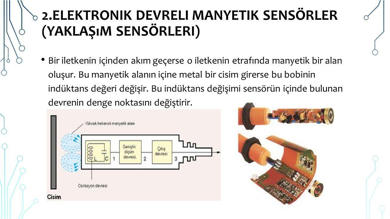 2.ELEKTRONIK DEVRELI MANYETIK SENSÖRLER (YAKLAŞıM SENSÖRLERI) Endüktif sensörler içlerindeki elektronik devre tarafından oluşturulan manyetik alanın; algılama mesafesi alanına giren metal malzeme ile bozulması sonucu çalışan sensörlerdir.