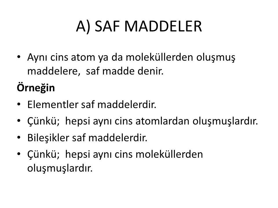 A) SAF MADDELER Aynı cins atom ya da moleküllerden oluşmuş maddelere, saf madde denir. Örneğin Elementler saf maddelerdir. Çünkü; hepsi aynı cins atom