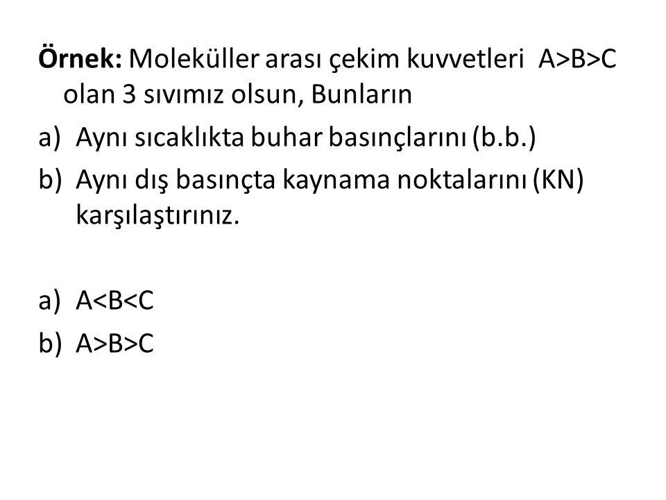 Örnek: Moleküller arası çekim kuvvetleri A>B>C olan 3 sıvımız olsun, Bunların a)Aynı sıcaklıkta buhar basınçlarını (b.b.) b)Aynı dış basınçta kaynama noktalarını (KN) karşılaştırınız.