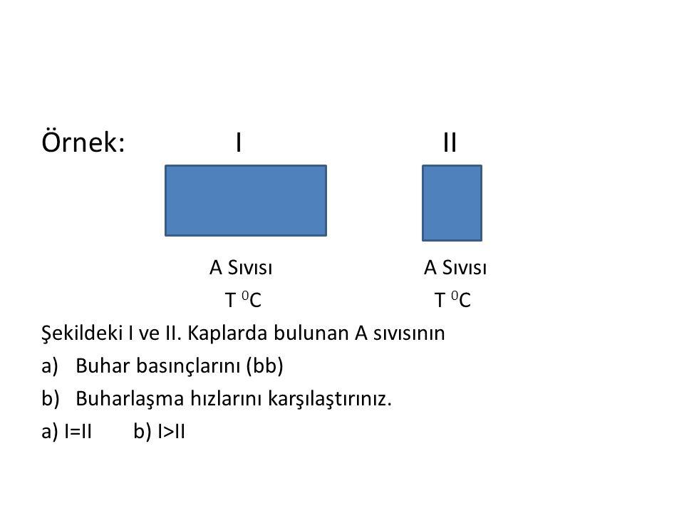 Örnek: I II A Sıvısı A Sıvısı T 0 C T 0 C Şekildeki I ve II. Kaplarda bulunan A sıvısının a)Buhar basınçlarını (bb) b)Buharlaşma hızlarını karşılaştır
