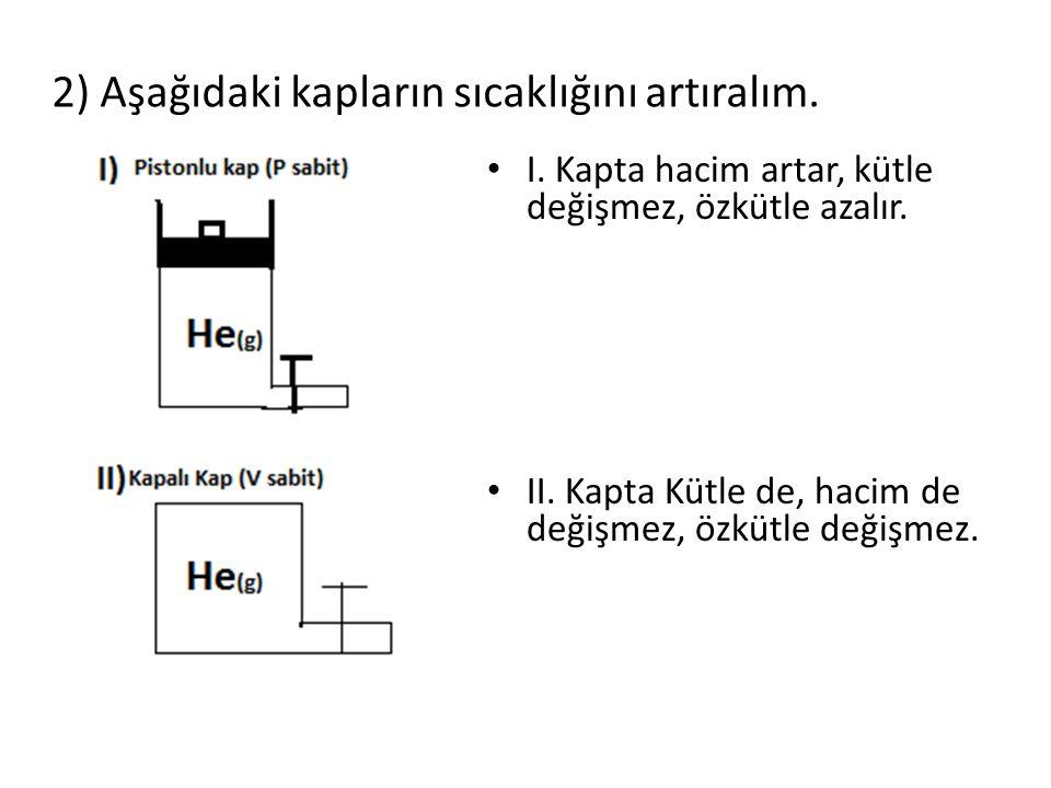 2) Aşağıdaki kapların sıcaklığını artıralım. I. Kapta hacim artar, kütle değişmez, özkütle azalır. II. Kapta Kütle de, hacim de değişmez, özkütle deği