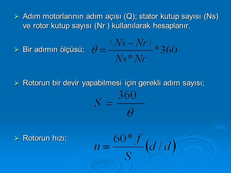  Adım motorlarının adım açısı (Q); stator kutup sayısı (Ns) ve rotor kutup sayısı (Nr ) kullanılarak hesaplanır.  Bir adımın ölçüsü;  Rotorun bir d