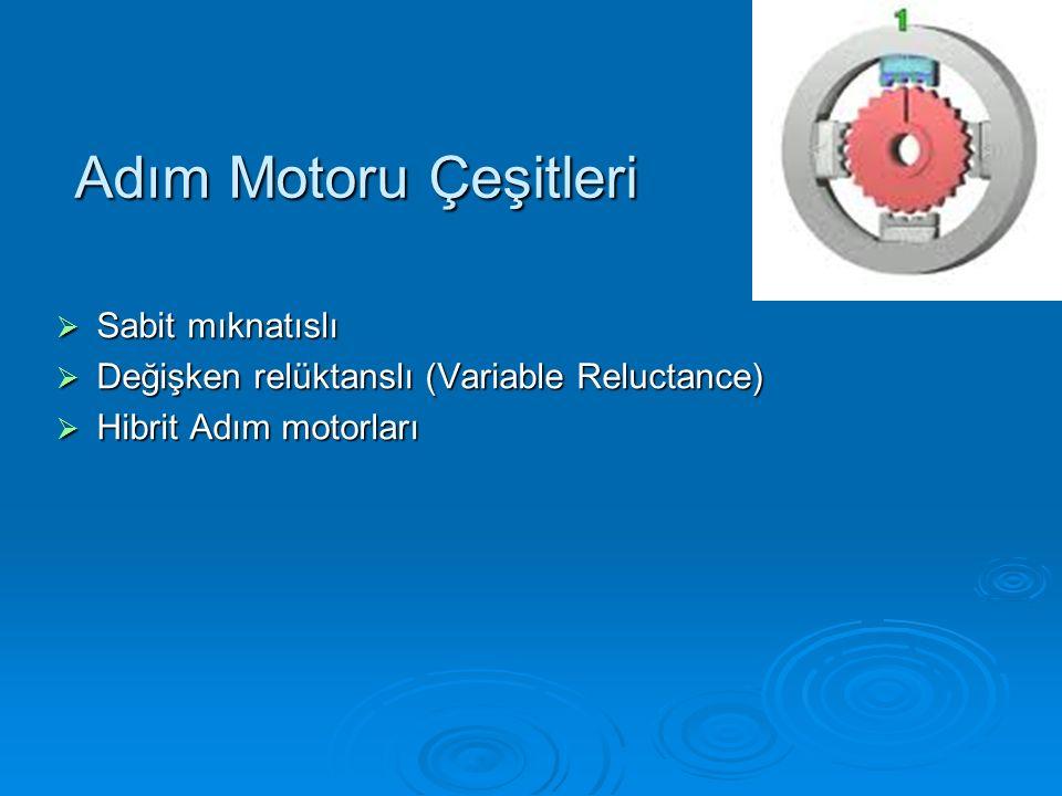Adım Motoru Çeşitleri  Sabit mıknatıslı  Değişken relüktanslı (Variable Reluctance)  Hibrit Adım motorları