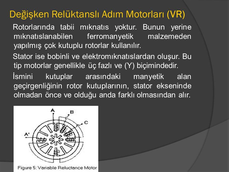 Değişken Relüktanslı Adım Motorları (VR) Rotorlarında tabii mıknatıs yoktur. Bunun yerine mıknatıslanabilen ferromanyetik malzemeden yapılmış çok kutu