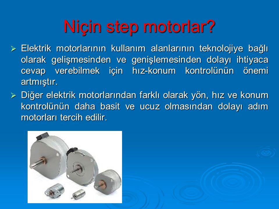 Niçin step motorlar?  Elektrik motorlarının kullanım alanlarının teknolojiye bağlı olarak gelişmesinden ve genişlemesinden dolayı ihtiyaca cevap vere
