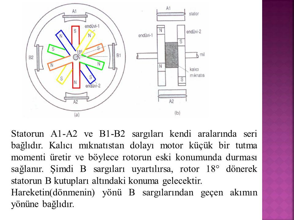 Statorun A1-A2 ve B1-B2 sargıları kendi aralarında seri bağlıdır. Kalıcı mıknatıstan dolayı motor küçük bir tutma momenti üretir ve böylece rotorun es