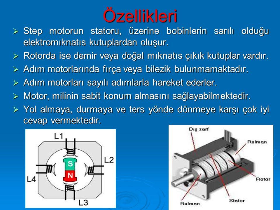 Özellikleri  Step motorun statoru, üzerine bobinlerin sarılı olduğu elektromıknatıs kutuplardan oluşur.  Rotorda ise demir veya doğal mıknatıs çıkık