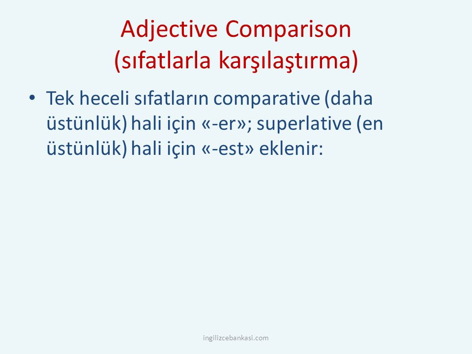 adjectivecomparativesuperlative tall young cold new cheap large big thin fat taller younger colder newer cheaper larger bigger thinner fatter tallest youngest coldest newest cheaper largest biggest thinnest fattest ingilizcebankasi.com