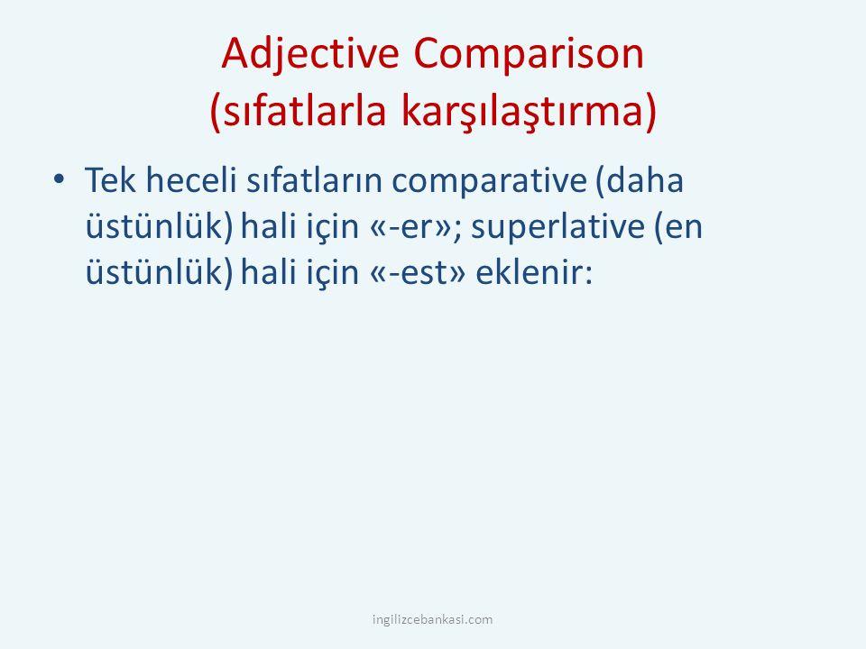 Adjective Comparison (sıfatlarla karşılaştırma) Tek heceli sıfatların comparative (daha üstünlük) hali için «-er»; superlative (en üstünlük) hali için «-est» eklenir: ingilizcebankasi.com