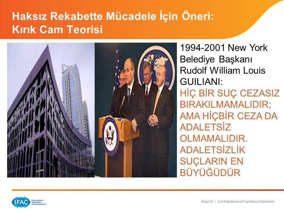 Page 16 | Confidential and Proprietary Information Haksız Rekabette Mücadele İçin Öneri: Kırık Cam Teorisi 1994-2001 New York Belediye Başkanı Rudolf