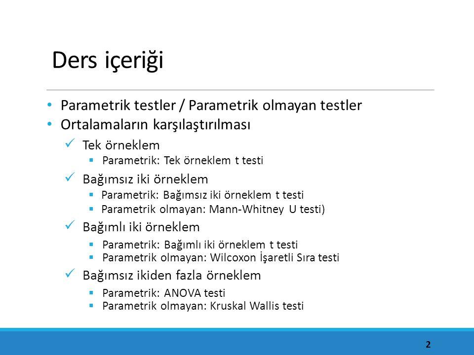 Normal dağılım test sonucu Normal dağılım testi için araştırma hipotezi 1.
