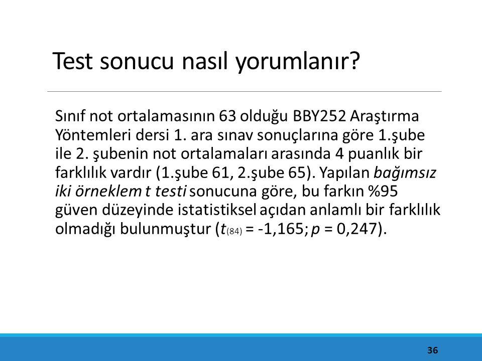 Test sonucu nasıl yorumlanır? Sınıf not ortalamasının 63 olduğu BBY252 Araştırma Yöntemleri dersi 1. ara sınav sonuçlarına göre 1.şube ile 2. şubenin