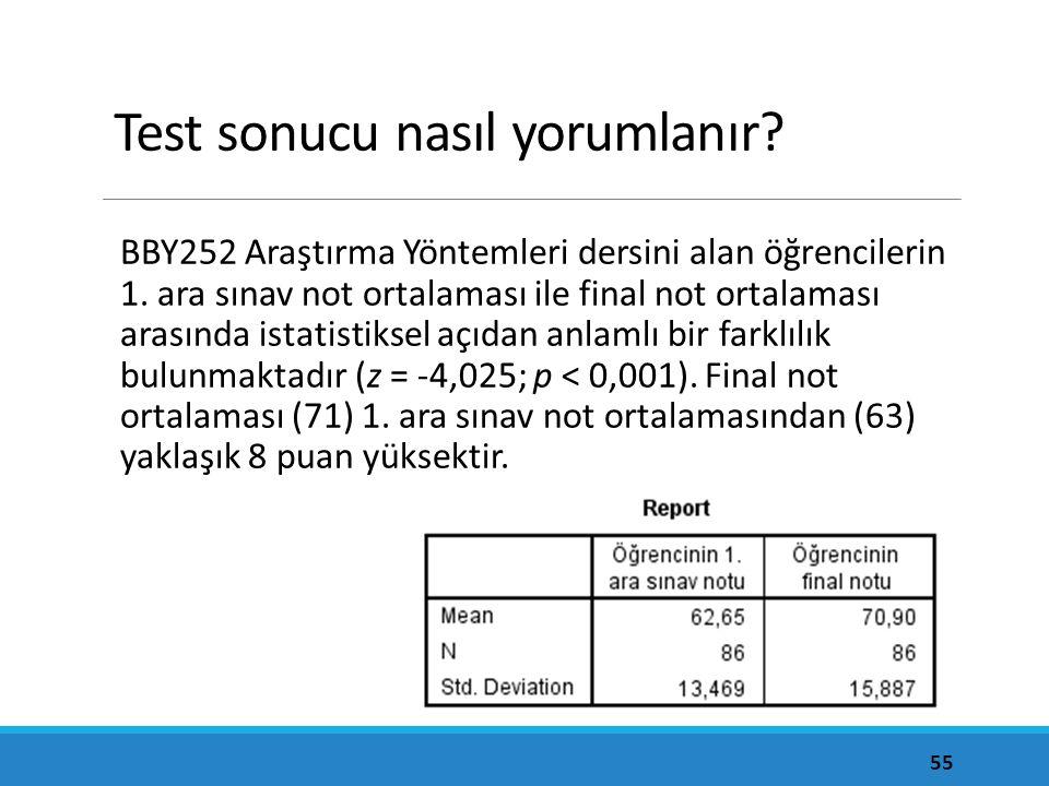 Test sonucu nasıl yorumlanır? BBY252 Araştırma Yöntemleri dersini alan öğrencilerin 1. ara sınav not ortalaması ile final not ortalaması arasında ista