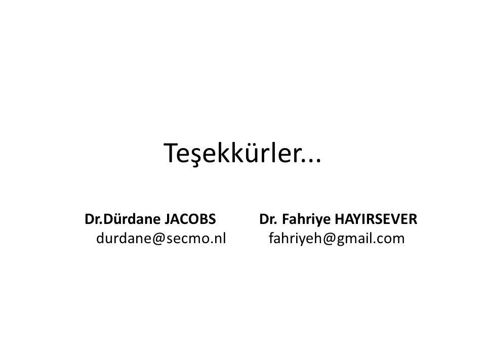 Teşekkürler... Dr.Dürdane JACOBS Dr. Fahriye HAYIRSEVER durdane@secmo.nl fahriyeh@gmail.com
