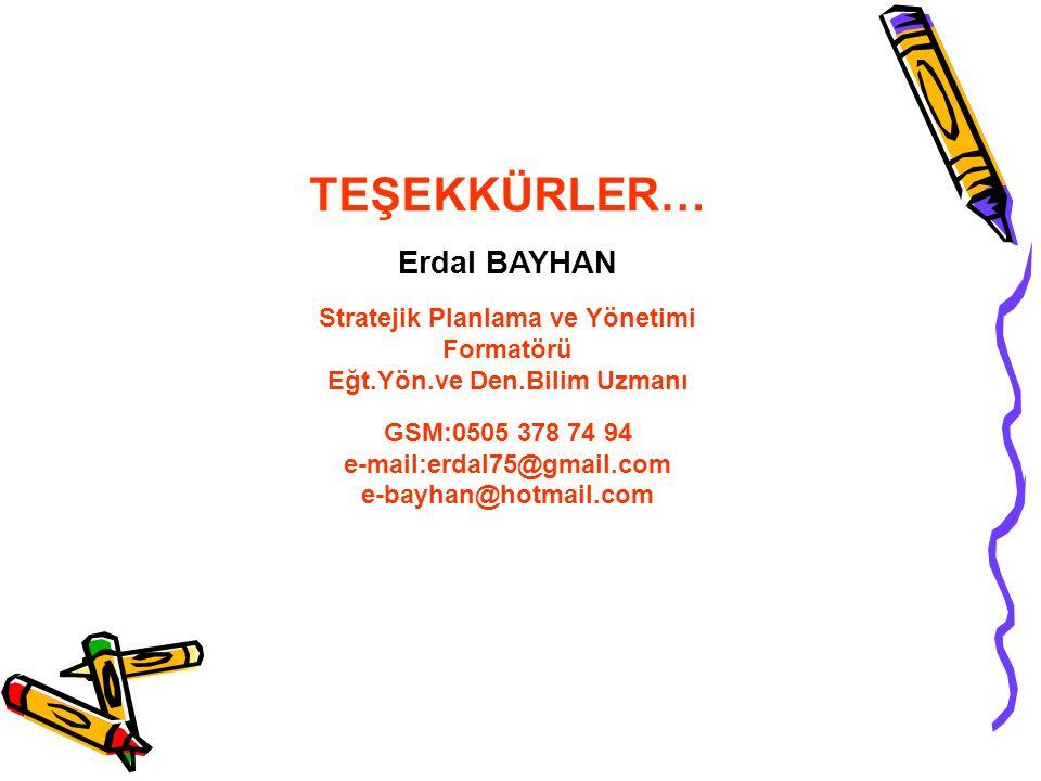 TEŞEKKÜRLER… Erdal BAYHAN Stratejik Planlama ve Yönetimi Formatörü Eğt.Yön.ve Den.Bilim Uzmanı GSM:0505 378 74 94 e-mail:erdal75@gmail.com e-bayhan@hotmail.com