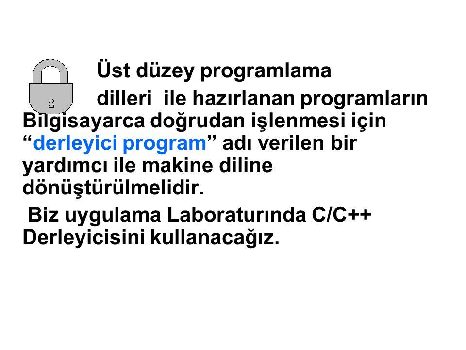 Üst düzey programlama dilleri ile hazırlanan programların Bilgisayarca doğrudan işlenmesi için derleyici program adı verilen bir yardımcı ile makine diline dönüştürülmelidir.