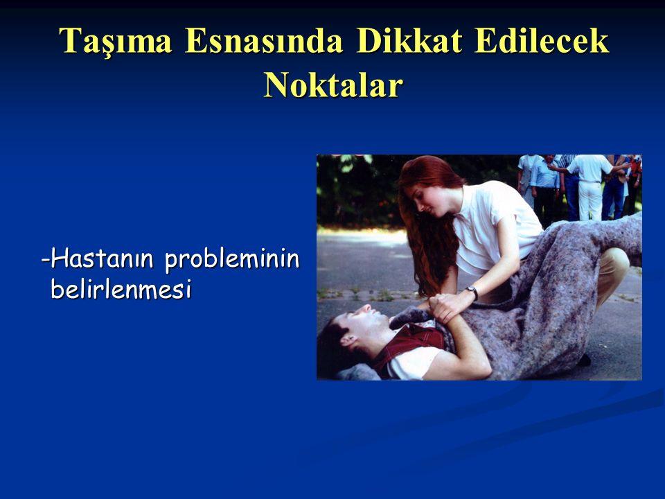 Taşıma Esnasında Dikkat Edilecek Noktalar -Hastanın probleminin belirlenmesi -Hastanın probleminin belirlenmesi
